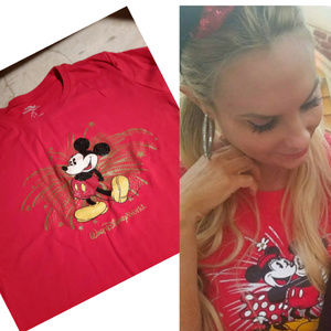 Mickey Mouse Tshirt RED Womens Short Sleeve, Large